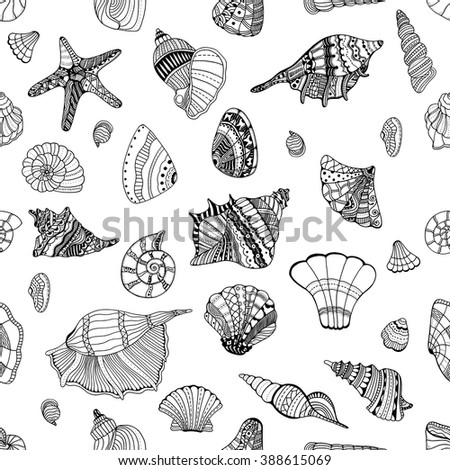 Zentangle stylized sea cockleshell seamless pattern. Hand Drawn aquatic doodle vector illustration. Sketch for tattoo or makhenda. Seashell collection. Ocean life. - stock vector
