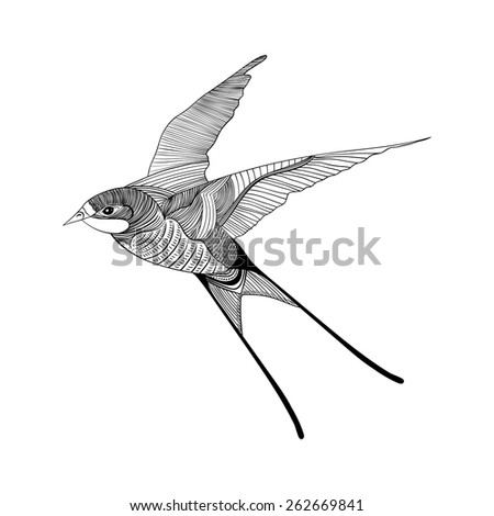 Zentangle stylized swallow. Hand Drawn vector illustration. Sketch for tattoo or makhenda. Bird collection. - stock vector
