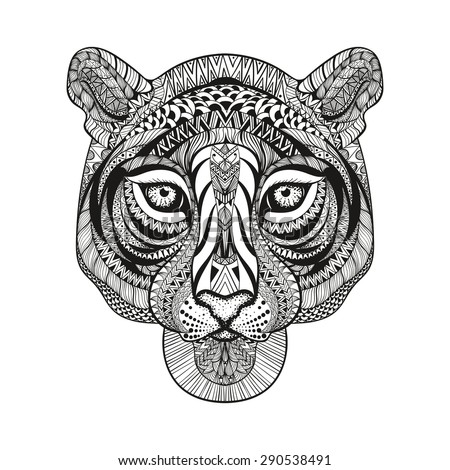 Zentangle stylized Tiger face. Hand Drawn doodle vector illustration isolated on white background. Sketch for tattoo or indian makhenda design. - stock vector