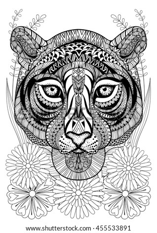 Zentangle Stylized Tiger Face On Flowers Hand Drawn Ethnic Animal For Adult Coloring Pages