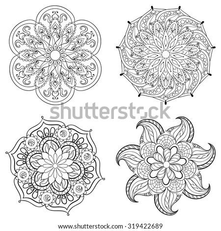 Zentangle stylized tribal Arabic, Indian Mandala set. Hand drawn vintage Ornament Pattern for adult coloring page. Ethnic decorative element, zendala. Yoga spirit. - stock vector