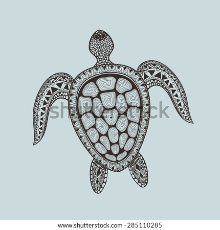 Zentangle stylized turtle. Hand Drawn aquatic doodle vector illustration. Sketch for tattoo or makhenda. Animal sea collection. Ocean life. - stock vector