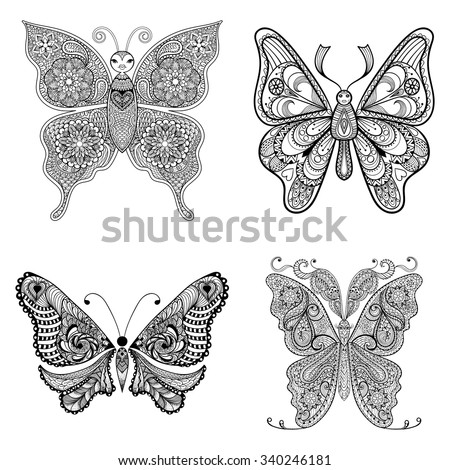 Zentangle vector black Butterflies set  for adult anti stress coloring pages in doodle style. Ornamental tribal patterned illustration for tattoos, posters or prints decoration. Hand drawn sketch.  - stock vector