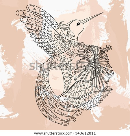 Zentangle vector Hummingbird in hibiskus, tattoo design. Ornamental tribal patterned illustration for adult anti stress coloring pages. Hand drawn black sketch isolated on grunge background.