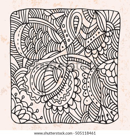 Zentangle with decorative doodle flower.