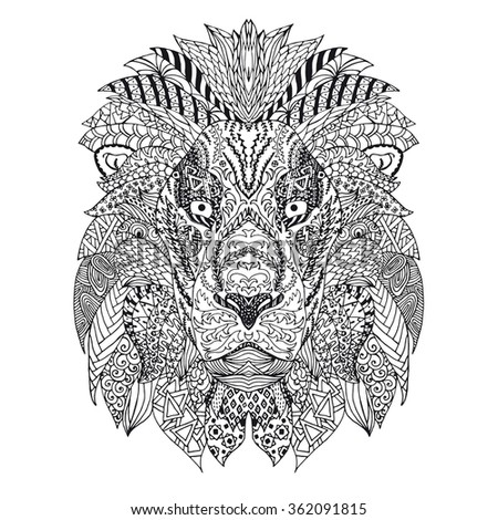 Zentangled Stylized Doodle Vector Drawing Of Lion Head Illustration Isolated On White Animal Print