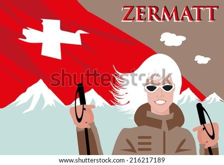 Zermatt ski poster  - stock vector