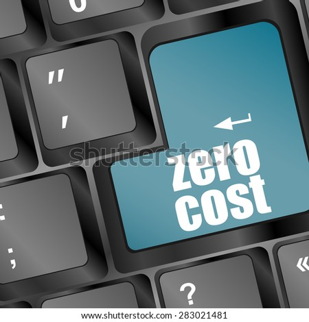 Zero Cost Keys Show Analysis And Value Of An Investment vector - stock vector