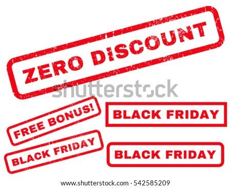 Zero Discount rubber seal stamp watermark with additional banners for Black Friday sales. Vector red emblems. Tag inside rectangular banner with grunge design and dirty texture.