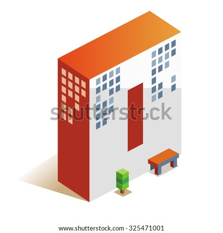 zero latin number in skyscraper shape - stock vector