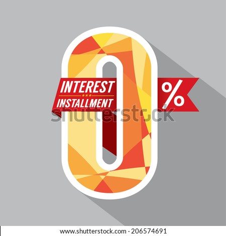 Zero Percent Interest Installment Vector Illustration - stock vector