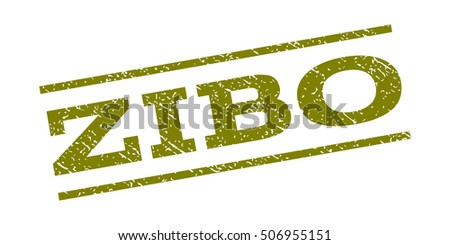 Zibo watermark stamp. Text tag between parallel lines with grunge design style. Rubber seal stamp with scratched texture. Vector olive color ink imprint on a white background.