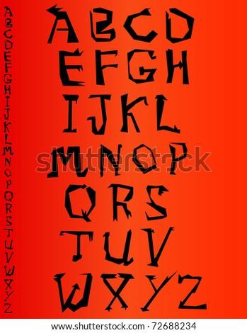Zig Zag Font - stock vector