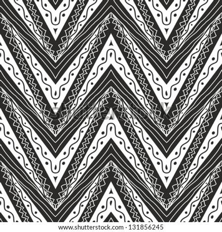 Zig zag seamless pattern in black and white - stock vector