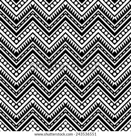 Zigzag contrast seamless pattern. Geometric ornament in black and white. Abstract tribal background. Decorative texture. Vector file is EPS8. - stock vector