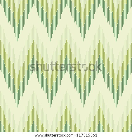 Zigzag pattern in green color. Seamless texture. - stock vector