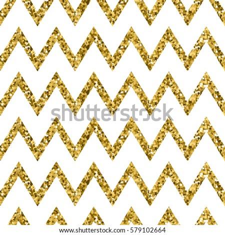 zigzag seamless pattern gold glitter white stock vector 579102664