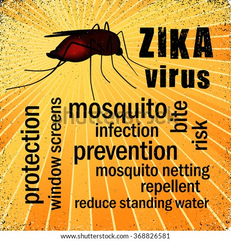 Zika virus mosquito graphic illustration, gold ray grunge background, prevention, protection, health word cloud. EPS8 compatible. - stock vector