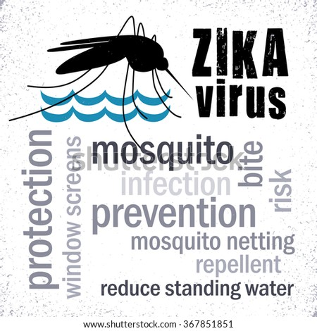 Zika Virus with mosquito over standing water grunge graphic illustration, prevention, protection, infection word cloud.  - stock vector