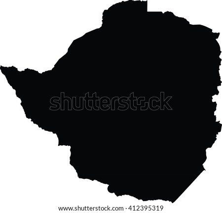 Zimbabwe black map on white background vector - stock vector