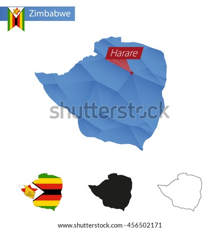 Zimbabwe blue Low Poly map with capital Harare, versions with flag, black and outline. Vector Illustration. - stock vector