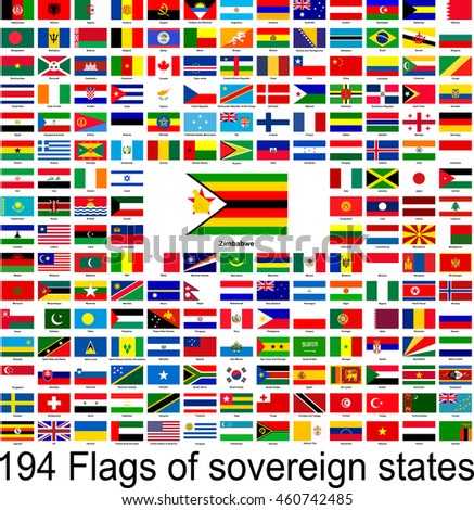 Zimbabwe, collection of vector images of flags of the world