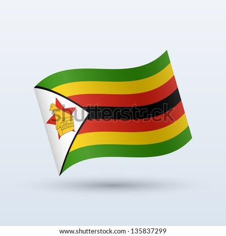 Zimbabwe flag waving form on gray background. Vector illustration ...