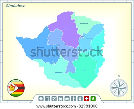 Zimbabwe Map with Flag Buttons and Assistance & Activates Icons Original Illustration - stock vector