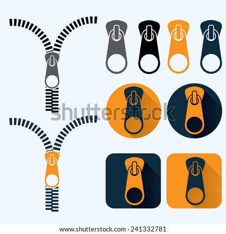 zipper illustration and icons set flat design - stock vector