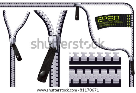 Zipper. Illustrator vector brushes to create zippers any shape. - stock vector