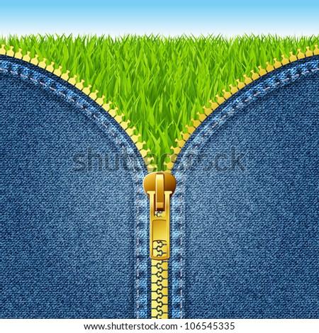 Zipper open on denim texture. Green grass. eps 10 - stock vector