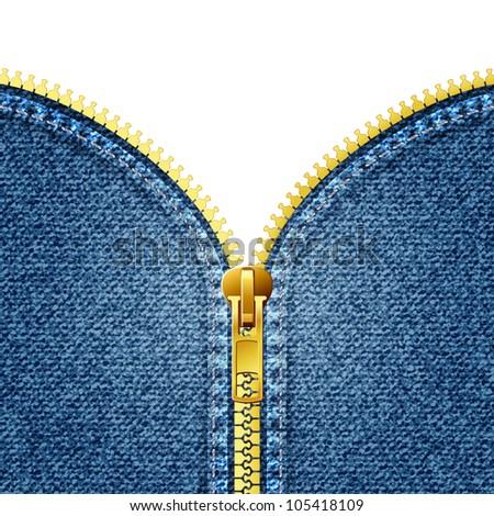 Zipper open on denim texture. Jeans. eps10 - stock vector