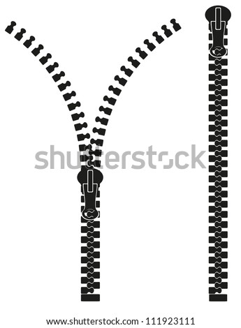 zipper silhouette vector illustration isolated on white background - stock vector