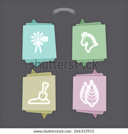 Zodiac and astrology signs, from left to right, top to bottom:  Wind turbine, Horse, Shovel, Cereal.   - stock vector