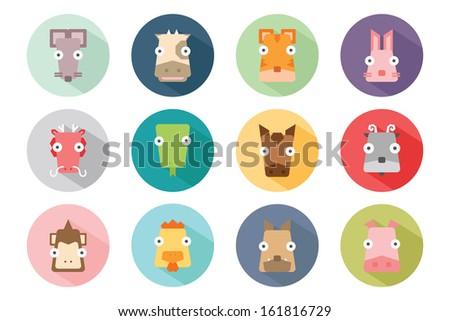 Zodiac animal icon set, vector - stock vector