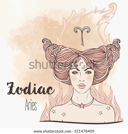 Zodiac: Aries zodiac sign. Vector illustration with portrait of a pretty girl. Vintage zodiac boho style fashion illustration. Design for zodiac coloring book page for adults and kids. - stock vector
