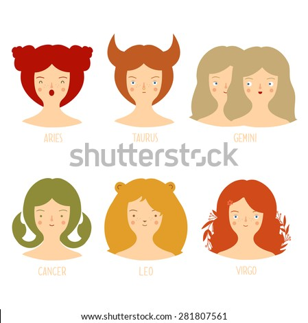 Zodiac astrological signs vector set for horoscope with cute girls faces. Part 2 - stock vector