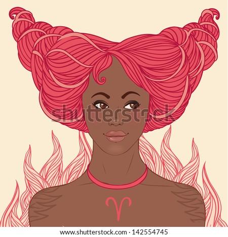 Zodiac beautiful girls set (African American version). Aries. - stock vector