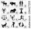 Zodiac - black silhouettes. Signs of the Zodiac in the form of vector silhouettes. All twelve zodiac signs. - stock photo