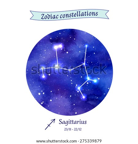 Zodiac constellation. Sagittarius. The Archer. Vector illustration - stock vector
