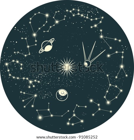 zodiac constellation with planets and satellite - stock vector