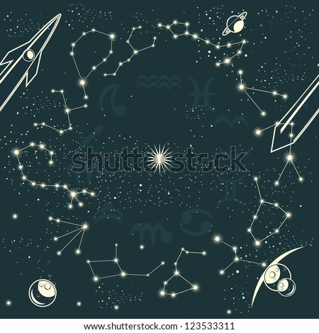 zodiac constellations and space seamless pattern - stock vector