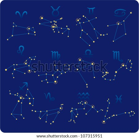 Zodiac constellations made of stars and lines and symbols - stock vector