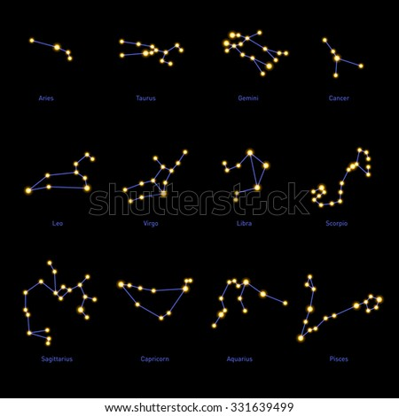 Zodiac Constellations Set. Space and Stars. Vector - stock vector