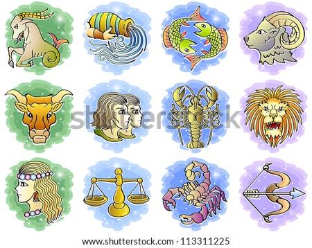 Zodiac Icon Vector Set; Vector Illustration - stock vector