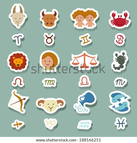 zodiac icons - stock vector