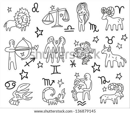 Zodiac icons doodles set - stock vector