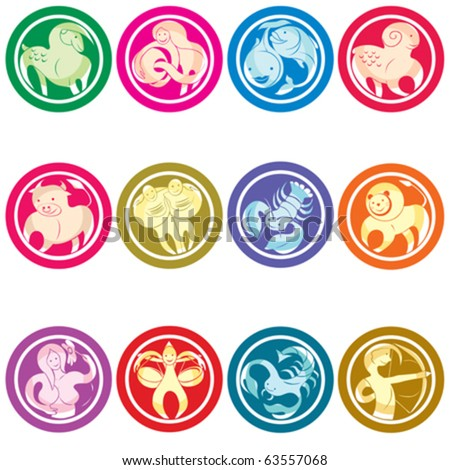 Zodiac icons set, isolated object against white background - stock vector