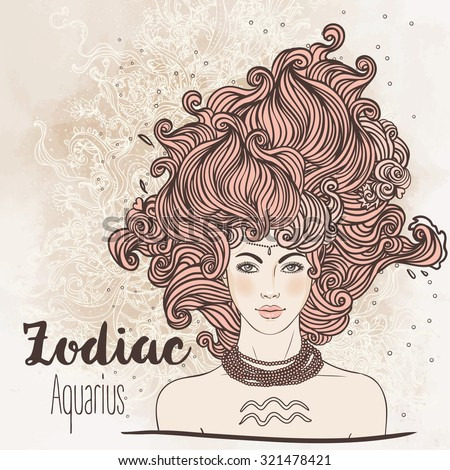 Zodiac: Illustration of Aquarius zodiac sign as a beautiful girl. Vector art. B Vintage boho style zodiac fashion illustration. Design for zodiac coloring book page for adults and kids. - stock vector