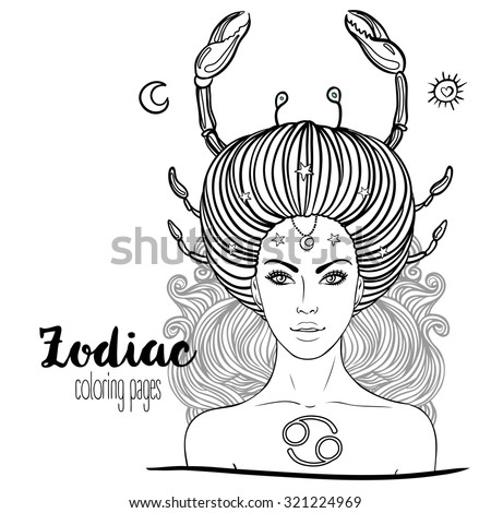Zodiac: Illustration of cancer zodiac sign as a beautiful girl. Vector art. Black and white zodiac drawing isolated on white. Design for zodiac coloring book page for adults and kids. - stock vector